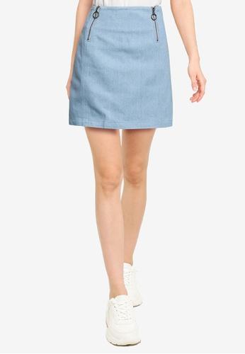 Heather blue Plain Mini Skirt 3A3A3AAEC3CA14GS_1
