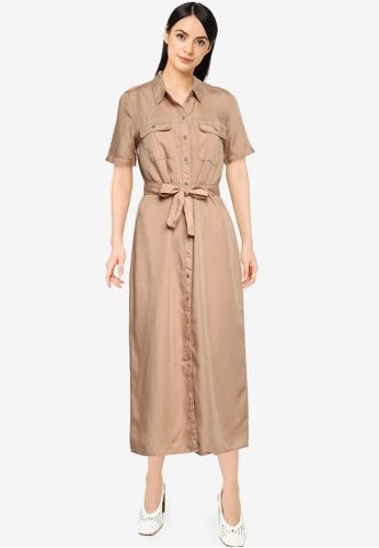Noisy May brown Cersei Button Dress 50E88AAC4EB4E1GS_1