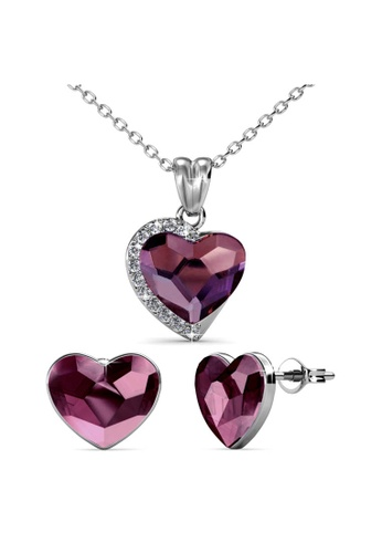 Her Jewellery pink Fond Love Set (Vintage Pink) - Made with premium grade crystals from Austria 373B1AC36BE503GS_1