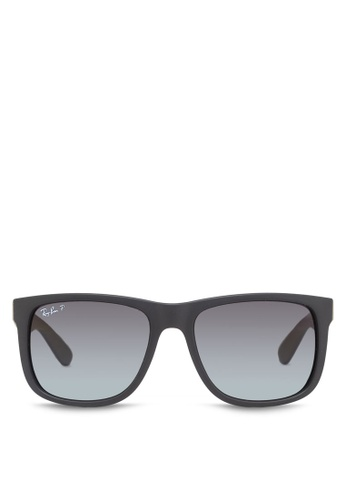 Ray-Ban black Justin RB4165 Polarized Sunglasses RA896GL96BZVMY_1