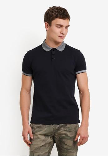 UniqTee black Single Tipped Polo Shirt UN097AA0S22KMY_1