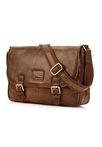 ENZODESIGN brown Antique Heavy Two Tone Buffalo Leather Small Messenger C7E63AC1D0E838GS_1