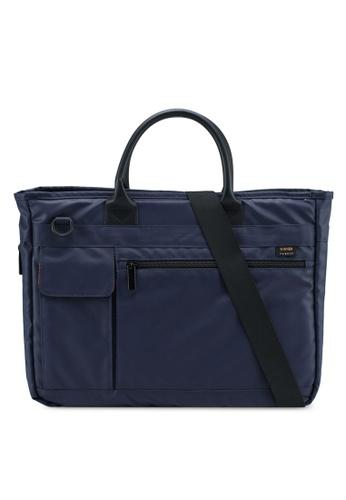 Bagstationz navy Premium Nylon 2-Way Laptop Bag 93FD1AC9AEF817GS_1