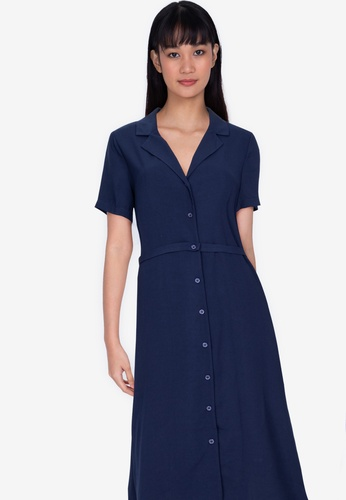 ZALORA BASICS navy Resort Collar Midi Dress A407FAAE5114D3GS_1