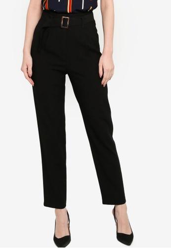 ZALORA WORK black Self Fabric Belt Pants 45790AA1A1B4E0GS_1