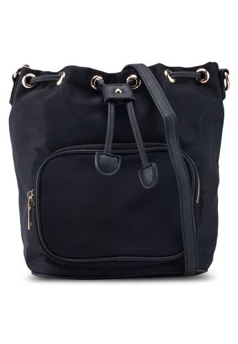 NUVEAU black PU-Trimmed Nylon Convertible Bucket Bag 42DC4ACF354A68GS_1