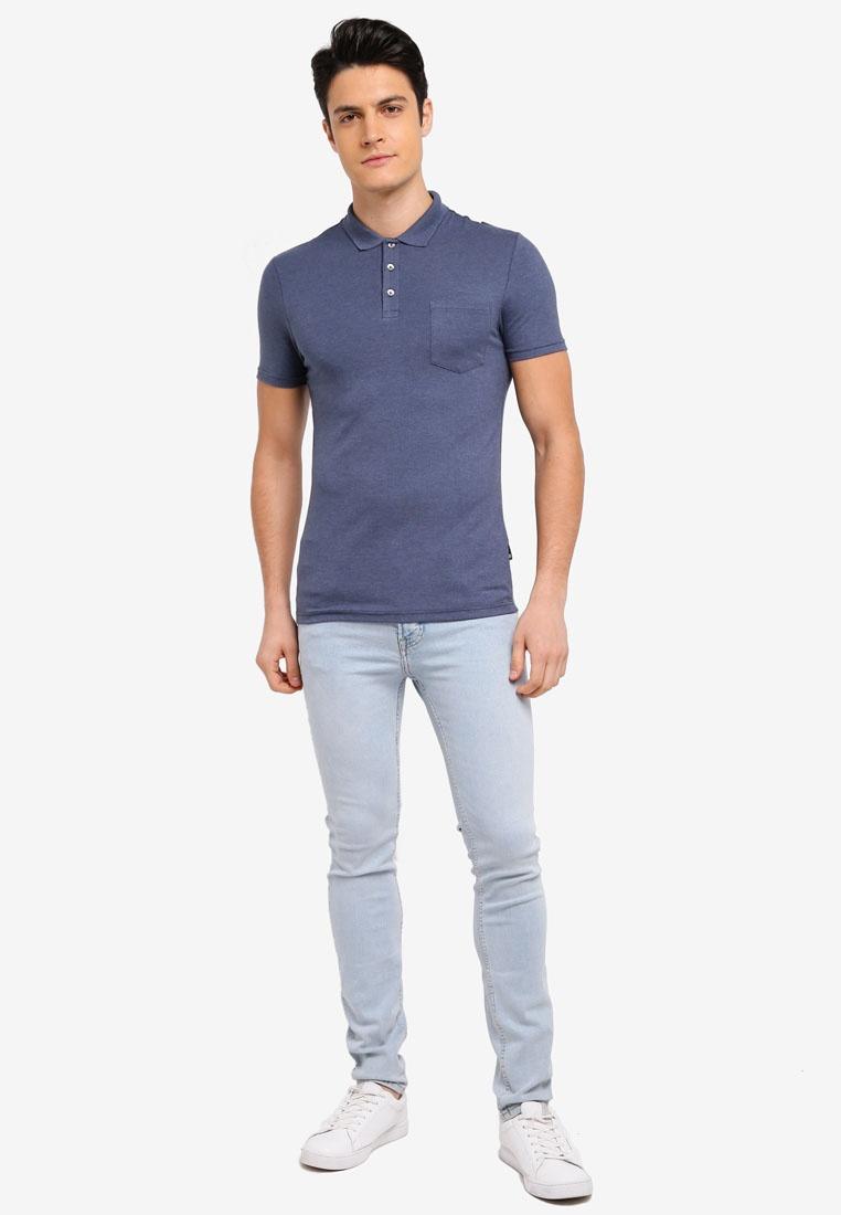 London Blue Burton Fit Muscle Marl Menswear Blue Mid Shirt Polo Sz0qF