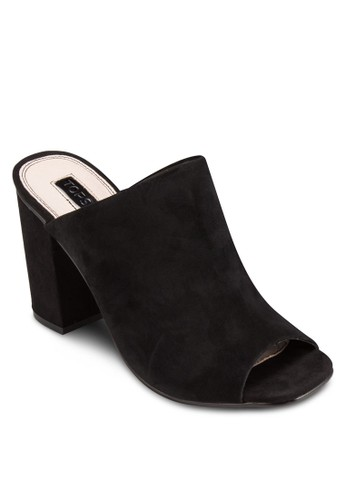 RULE 麂esprit香港分店地址皮露趾粗跟涼鞋, 女鞋, 鞋