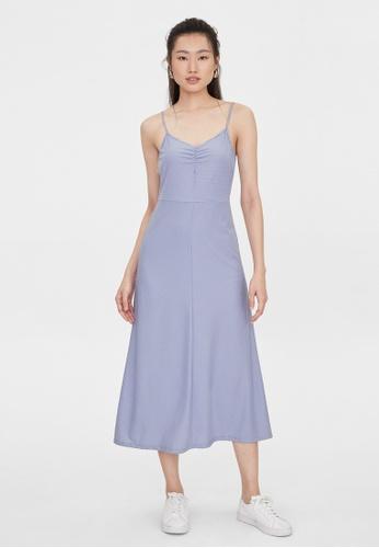 Pomelo blue Center Ruched Spaghetti Strap Dress - Blue 7FF9EAAB577BC3GS_1