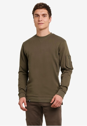 Indicode Jeans green Fresno Pocketed Sleeve Sweatshirt IN815AA0ROLXMY_1