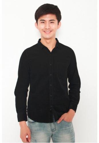 DENIZEN DENIZEN Men's Long Sleeve Casual Corduroy Shirt - Black 59B66AA57A9ADFGS_1