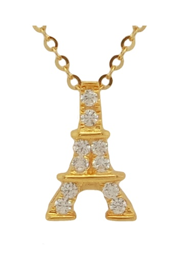 LITZ gold LITZ 916 (22K) Cubic Zirconia Gold Eiffel Tower Necklace 19F4BACAC59D10GS_1