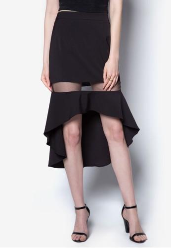 薄紗拼接魚尾裙zalora 台灣門市, 服飾, 女性服飾