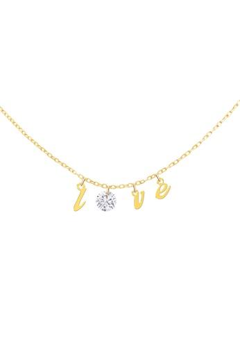 Khoe 黃色 Khoe 18K黃金鑽石字母LOVE頸鏈吊飾 2E2E3ACC5F5F9CGS_1