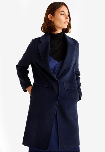 Mango blue and navy Lapels Wool Coat A3DADAA019FB4CGS_1