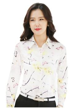 Spring Pattern Printed White Blouse