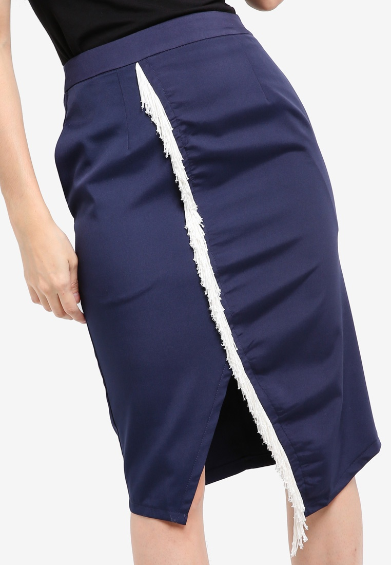 A Line Skirt Navy Asymmetric Slit KLEEaisons Trimming With qUAPHH