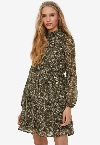 Vero Moda green Vilde Long Sleeve Short Dress B6720AA3A5350AGS_1