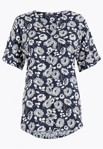 MARKS & SPENCER multi Satin Floral Longline Short Sleeve Blouse 72175AACDEBBDBGS_1