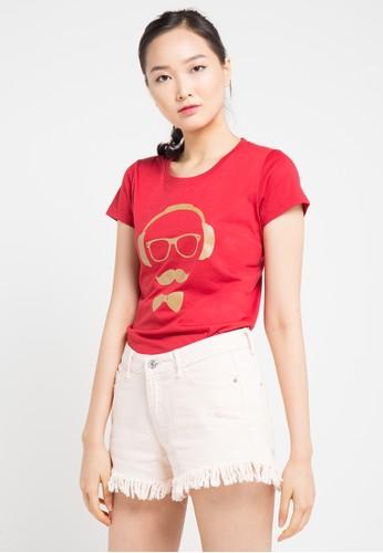 MEIJI-JOY red Print Handphone short sleeve Tshirt FB943AA6CB0093GS_1