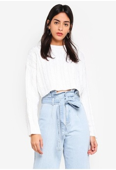 8ecc5eec2d90b4 MISSGUIDED. Cable Crop Batwing Knitted Jumper