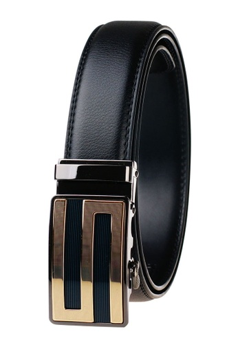 FANYU black Leather Dress Belt With Automatic Buckle FEC4BACCF5019AGS_1