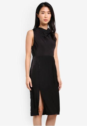 Preen & Proper black Draped Neckline Sheath Dress PR614AA0S9VAMY_1