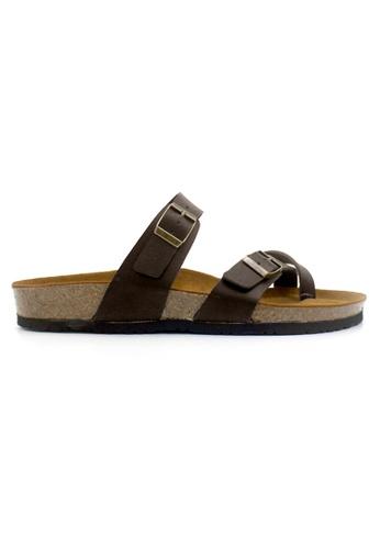 SoleSimple 褐色 Dublin - 深棕褐色 百搭/搭帶 全皮軟木涼鞋 F5135SHD96ABF9GS_1