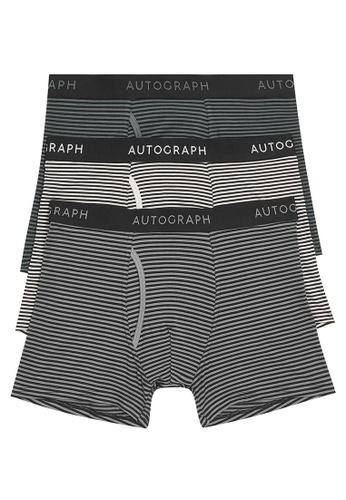 MARKS & SPENCER black M&S 3pk Premium Cotton Striped Trunks 2EA94USF0AA1ACGS_1