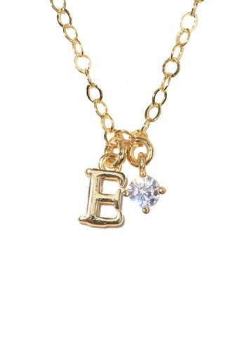 PSYNDROME gold Personalised Initial Letter Alphabet with Cubic Zircona Necklace - E 40C02ACB6DB3DDGS_1