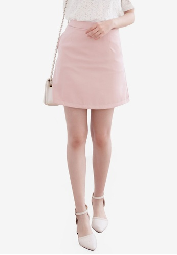 Eyescream pink Basic High Waist Mini Skirt C8EB7AA4B050ABGS_1