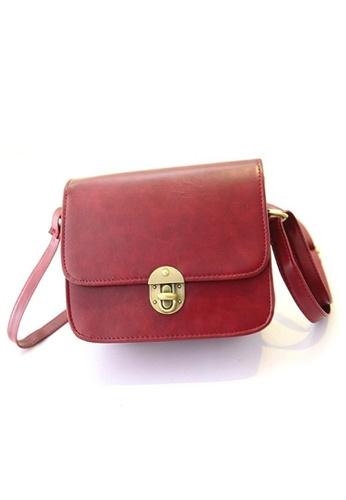 Jackbox red Korean Fashion Lock Design PU Leather Shoulder Sling Bag 317 (Red) JA762AC07XPSMY_1