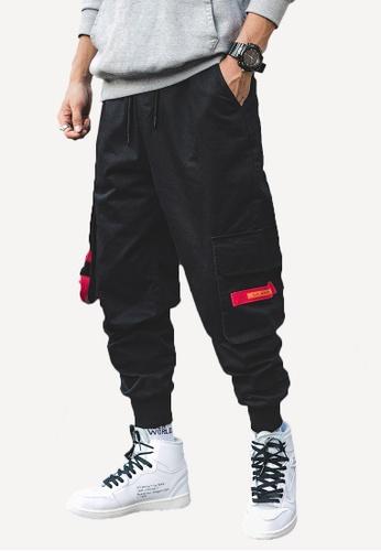 hk-ehunter 黑色 男裝多口袋工裝褲子 5D20FAADD99801GS_1