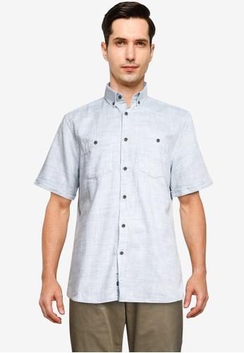 LC Waikiki blue Regular Fit Short Sleeve Oxford Shirt D875AAA6FF8304GS_1