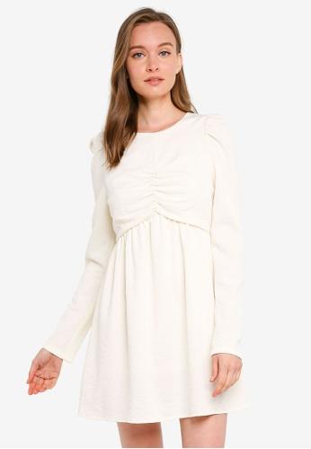 Urban Revivo 白色 Ruched短洋裝 EEC90AA407EC74GS_1