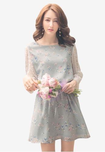 YOCO blue Lace Floral Drawstring Dress 0B396AAACAA021GS_1