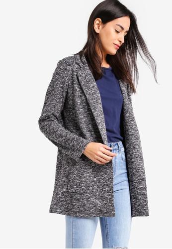 ZALORA grey Knit Longline Jacket 7C45DAA05784C7GS_1