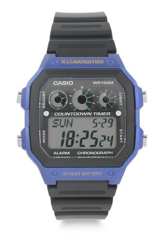 CASIO black Casio Jam Tangan Pria - Black Blue - Resin - AE-1300WH-2AVDF 4B65BAC59A3C37GS_1