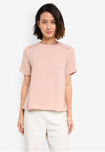 ZALORA pink Button Shoulder Detail Top D8430AA84F8787GS_1