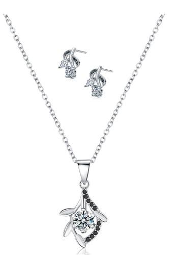 A-Excellence black Premium Elegant Black Sliver Necklace Earring Set 18BF3AC5CCF8FBGS_1