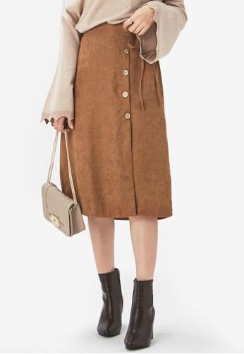 Yoco brown Buttoned Down Midi Skirt AD07FAA43D0904GS_1