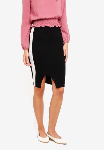 1116b0b79d Miss Selfridge black Black Sports Stripe Midi Knitted Pencil Skirt  AA2F4AAA13066CGS_1