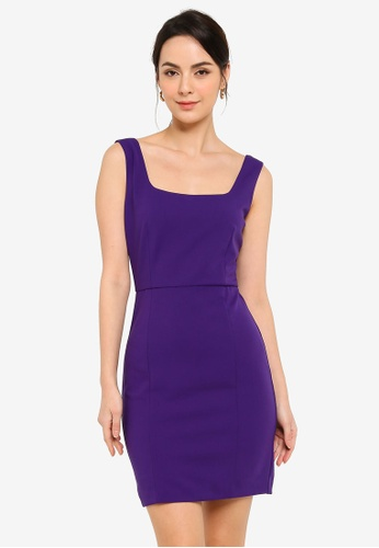FORCAST purple Harlow Square Neck Dress DB22EAAC0AB22AGS_1