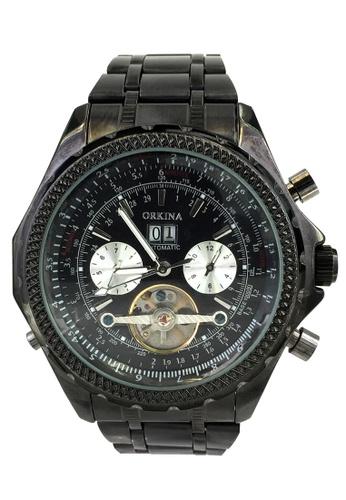 Chronomart black Orkina Day Dispay Automatic Tourbillon Stainless Steel Men's Wrist Watch CH783AC10XCNPH_1