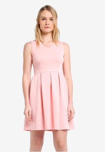 ZALORA pink Essential V Neck Fit & Flare Dress AB21CZZ32ED1A6GS_1