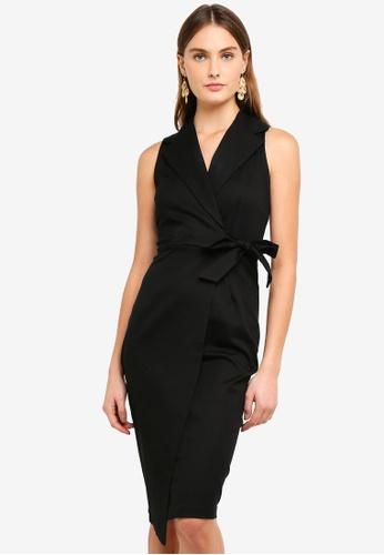 CLOSET black Collared Wrap Tie Dress 67E80AA57CD5E6GS_1