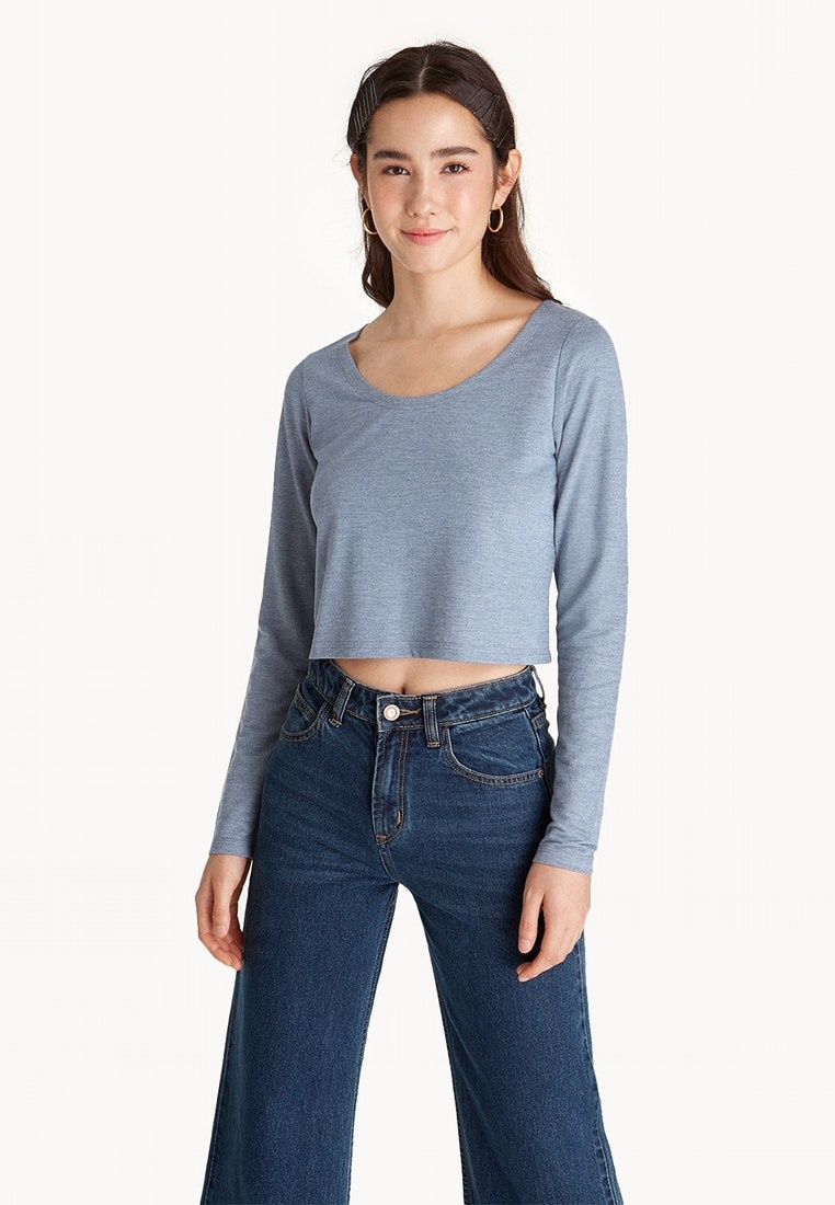 Long Baby Sleeve Cropped Pomelo Tee Blue Basic 1wqvxx7