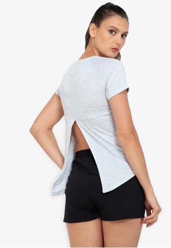 ZALORA ACTIVE grey Open Back Slit Short Sleeve T-Shirt 10877AA8918587GS_1