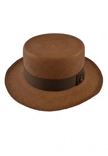 ECUA-ANDINO brown Boater Brown Panama Hat 9D0C8AC7958AE8GS_1