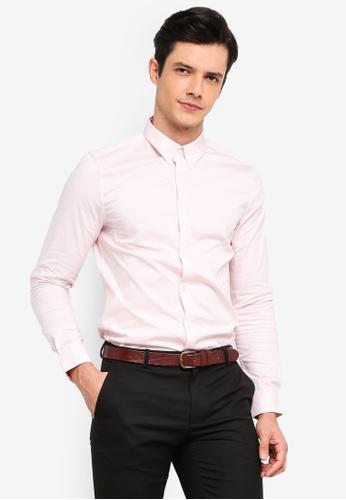 Burton Menswear London 粉紅色 緊身襯衫 34FA2AA7407525GS_1